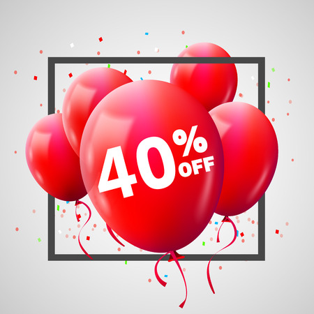 Red Balloons Discount Frame. SALE concept for shop market store advertisement commerce. 40 percent off. Market discount, red balloon. Business sale template. Vector illustration