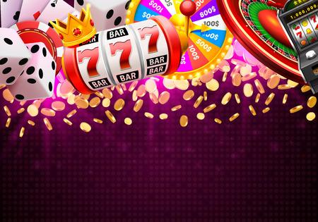 Casino dobbelstenen banner uithangbord op achtergrond. Vector illustratie Stockfoto