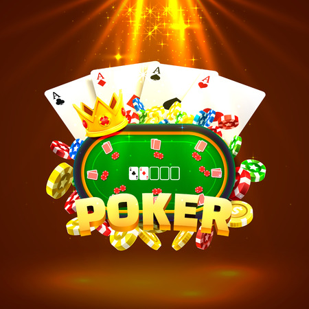Poker table with the cards and chips on a gold background. Vector illustration