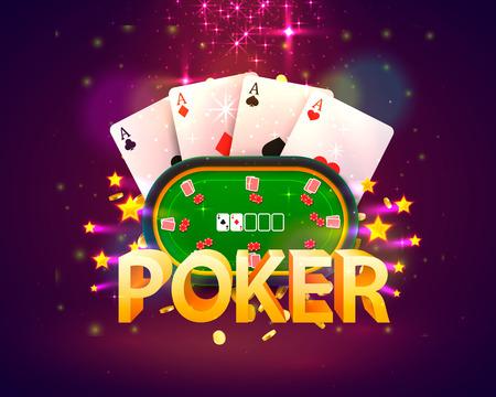 Mesa de póquer con las cartas y fichas sobre un fondo verde. Ilustración vectorial Ilustración de vector