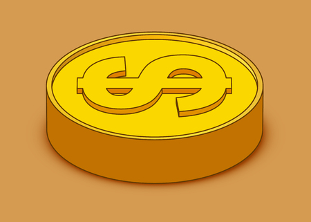 3d cartoon gold coin icon. US dollar. Money concept. Vector illustration