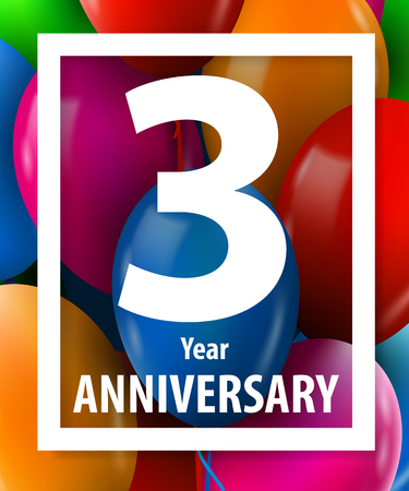Three years anniversary. 3 year. Greeting card or banner concept. Vector illustration. Stock Photo