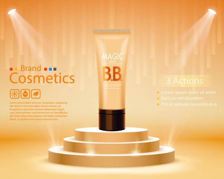 Luxury skin toner, bb cream or peeling scrub contained in tube, dark background. Cosmetic and organic makeup concept. Vector illustration