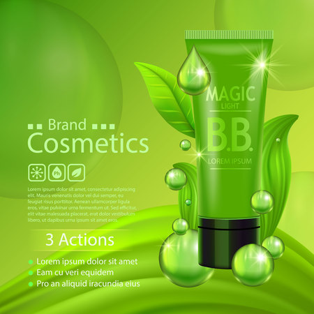 Green cream bottle with silver cap and green leaves on juicy background. Skin care vitamin formula treatment design. Beauty product advertising concept for cosmetic industry. Vector Stock Photo