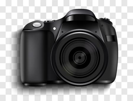 Realistic photo camera. Professional photo studio concept. Vector illustration Stock Photo