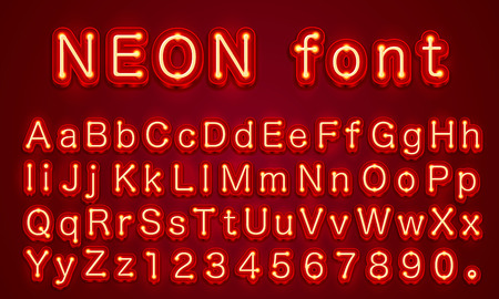Fuente de color rojo de la ciudad de neón. Signo de números y alfabeto inglés. Ilustración vectorial