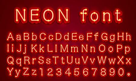 Rote Schrift der Neonstadtfarbe. Englisches Alphabet und Zahlenzeichen. Vektorillustration