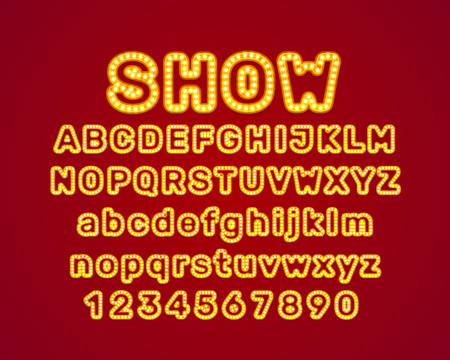 Show city color blue font. English alphabet and numbers sign. Vector illustration Ilustrace