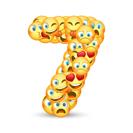 A set of emoticons shaped as seven number. Vector illustration