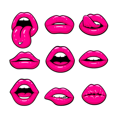 Pink lips, a collection of different shapes. Vector illustration