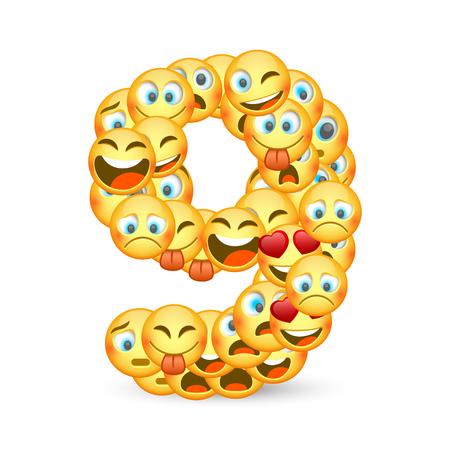 A set of emoticons shaped as nine number. Vector illustration  イラスト・ベクター素材