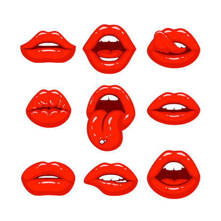 Red lips, a collection of different shapes. Vector illustration