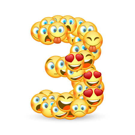 A set of emoticons shaped as three number. Vector illustration