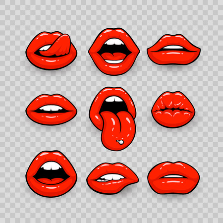 Red lips, a collection of different shapes, on a transparent background. Vector illustration Иллюстрация