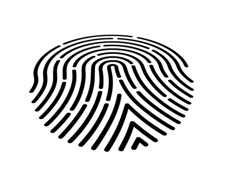 Fingerprint icon black on the white background. Vector illustration