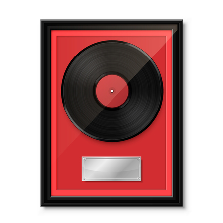 Hit vinyl in frame on wall, Collection disc, template design element, Vector illustration