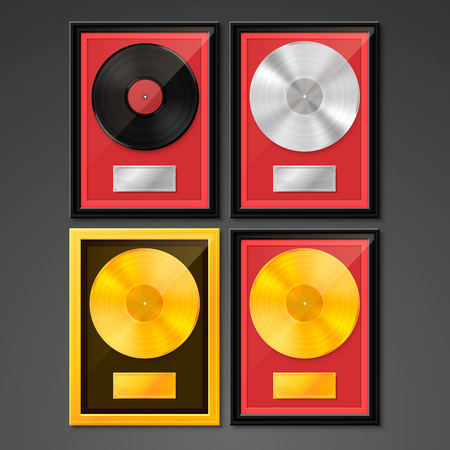 Vinyl in frame on wall, Golden Platinum Hit Collection disc, template design element, Vector illustration Illustration