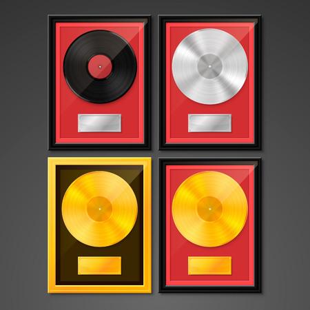 Vinyle dans le cadre sur le mur, disque Golden Platinum Hit Collection, élément de conception de modèle, illustration vectorielle