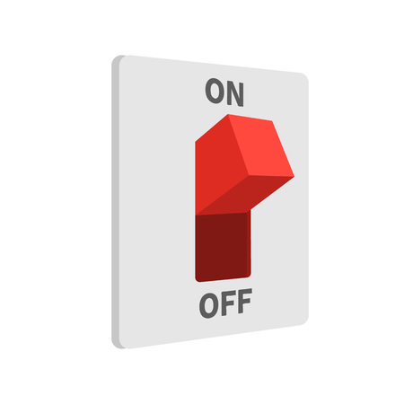 Electric switch turned on, flat style, isolated on white background. Vector illustration Stock Illustratie