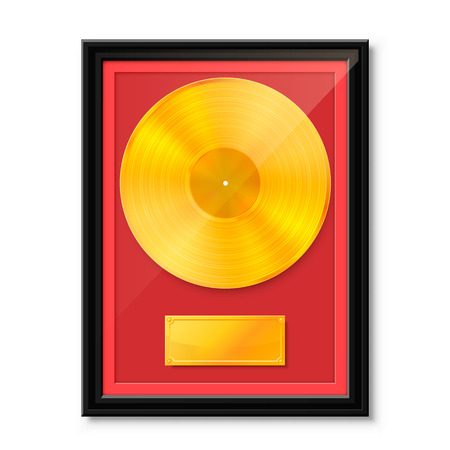 Golden vinyl in frame on wall, Collection disc, template design element, Vector illustration
