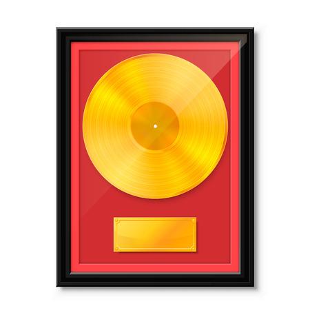 Goldenes Vinyl im Rahmen an der Wand, Sammlungsscheibe, Schablonengestaltungselement, Vektorillustration