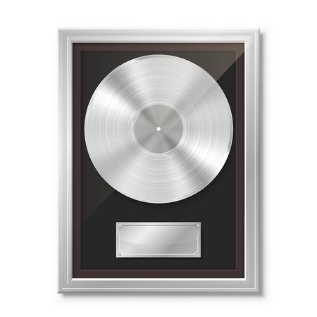Vinyle platine dans le cadre sur le mur, disque de collection, élément de conception de modèle, illustration vectorielle