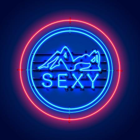 Enseigne fille néon sur fond bleu. Illustration vectorielle