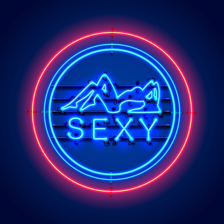 Neon sexy girl signboard on the blue background. Vector illustration