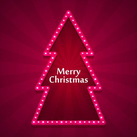 Merry Christmas neon tree art, Happy new year background, Vector illustration