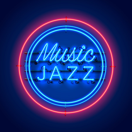 Neon music jazz signboard on the red background. Vector illustration Illustration