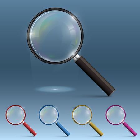Magnifying glass art set color. Vector illustration