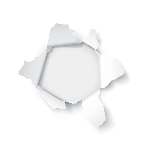 Explosion paper hole on the white background. Vector illustration Illustration