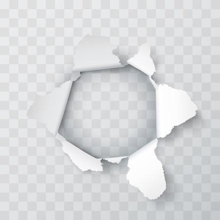 Explosion paper hole on the Transparent background. Vector illustration Illustration