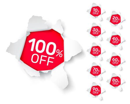 Raccolta di banner di esplosione di carta con percentuale di sconto sulla quota. Illustrazione vettoriale Vettoriali