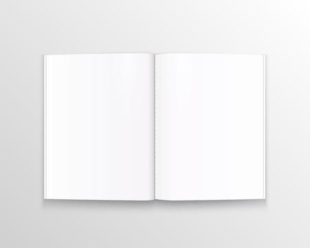 Offenes Papierbuch mit Textkunst. Vektorillustration