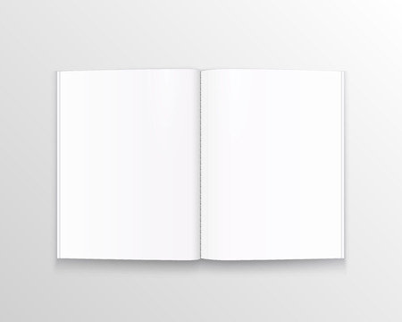Open paper book with text art. Vector illustration