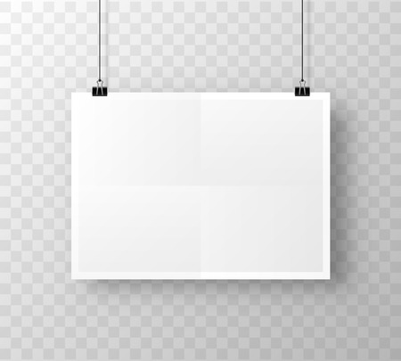 Paper poster A4 on the white transparent background. Vector illustration Vectores