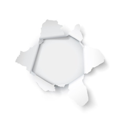 Explosion paper hole on the white background. Vector illustration 矢量图像