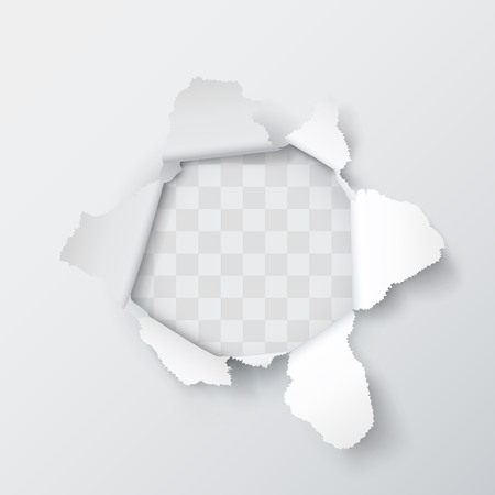 Explosion paper hole on the gray background. Vector illustration