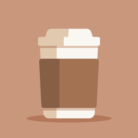 Coffee cup vector illustration. Plastic or paper coffee or tea cup in flat style. Vector illustration Çizim