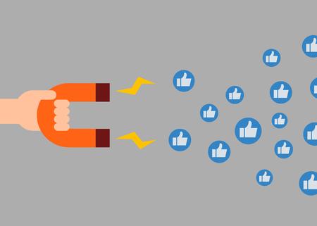 Social media marketing concept. Magnet attracting likes. Vector illustration