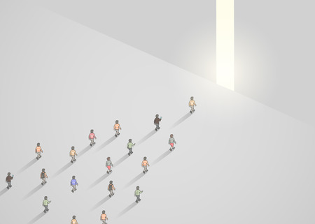 Business concept illustration of crowd of people walking into narrow door. Leader concept. Vector illustration