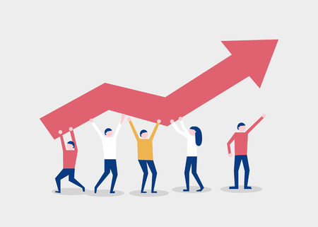 Little people raise a red chart arrow. Teamwork and success concept. Vector illustration