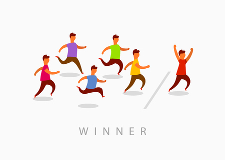 Man crossing finish line finishing first in a race. Never give up. Flat style vector illustration. 向量圖像