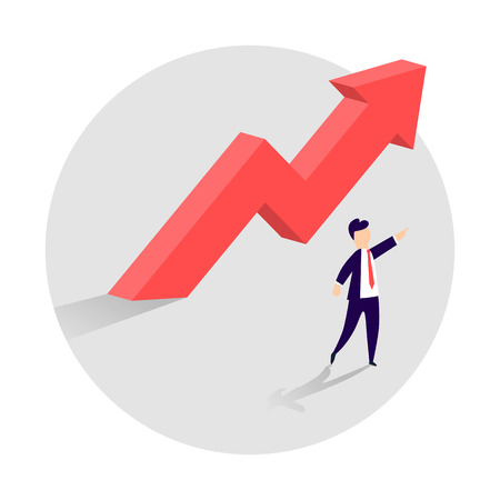 Concept of business growth with an upward arrow and a businessman showing the direction. Symbol of success, achievement. Vector illustration.