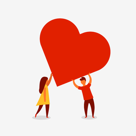 Man and woman holding big red heart. Valenine day. Love and relationship. Vector illustration