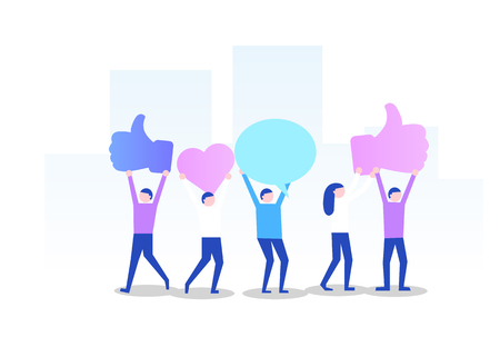 Large group of people with like, thumb, heart, signs. Social network concept. Vector illustration Ilustração