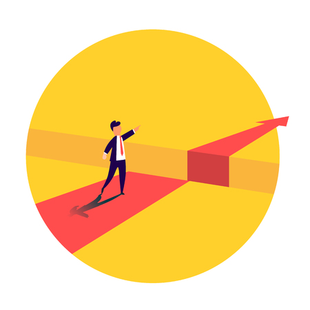Businessman standing in front of the obstacle, gap on the way to success, business concept of solving the problem. Problems and overcoming obstacles. Vector illustration
