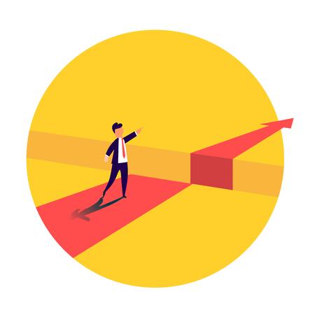 Homme d'affaires debout devant l'obstacle, écart sur le chemin du succès, concept d'entreprise de résolution du problème. Problèmes et surmonter les obstacles. Illustration vectorielle
