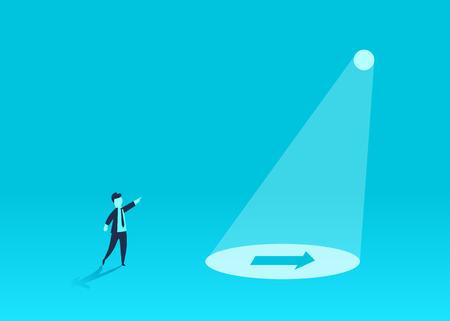 Concepto de la idea, mostrando la forma de negocio de un empresario. Resolver problemas, el camino hacia el éxito. Ilustración de vector. Ilustración de vector